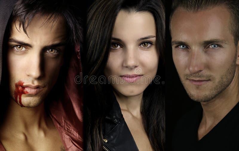 Een vampierverhaal - portret van drie jonge vampieren royalty-vrije stock afbeeldingen