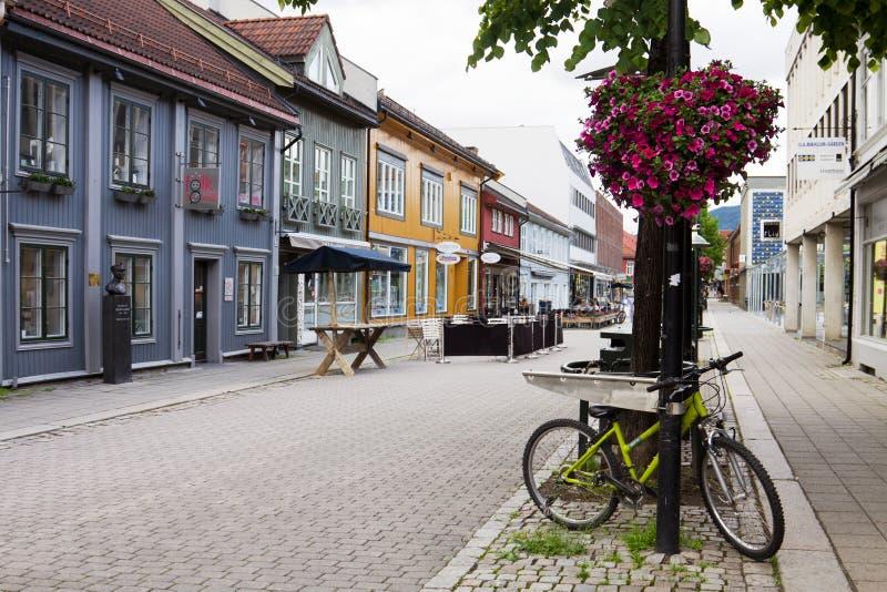 Een van de centrale straten in de stad Lillehammer in Noorwegen royalty-vrije stock foto