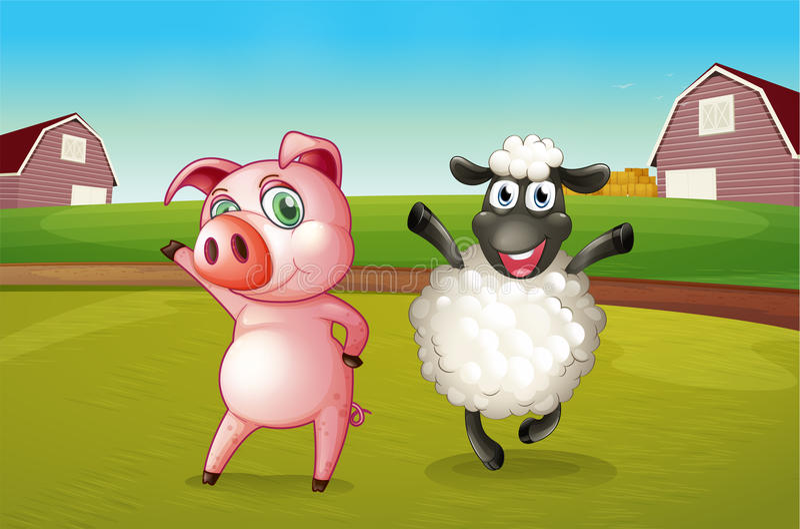 Een varken en een schaap die bij het landbouwbedrijf dansen royalty-vrije illustratie