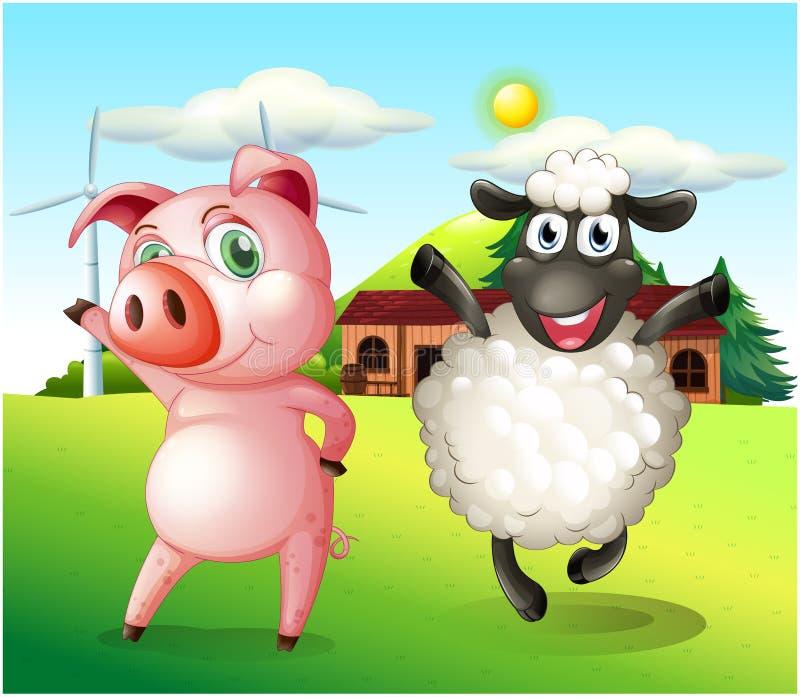 Een varken en een schaap die bij het landbouwbedrijf met een windmolen dansen stock illustratie
