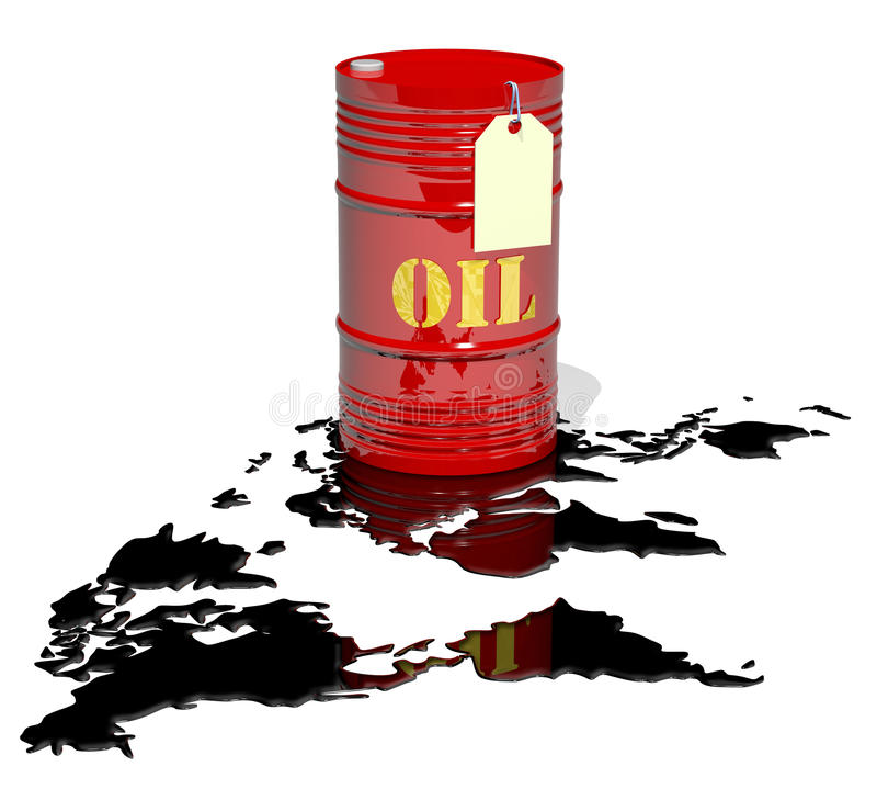 Een vat van olie en wereldkaart royalty-vrije illustratie