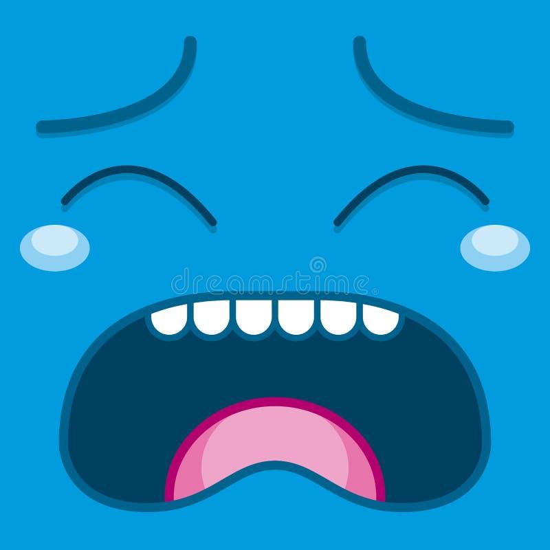 Download Een Vector Leuk Beeldverhaal Blauw Schreeuwend Gezicht Stock Illustratie - Illustratie bestaande uit emotie, beeldverhaal: 39105427