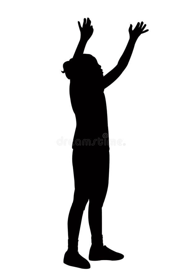 Een vector van het het lichaamssilhouet van het tiener jonge meisje bevindende stock illustratie