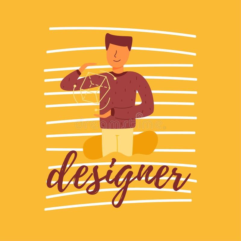 Een vector vlakke begaafde banner van letters voorziende ontwerper royalty-vrije illustratie