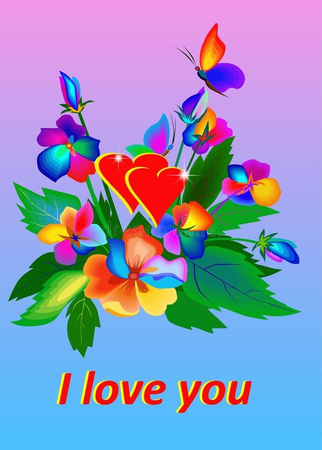 Een vectorbos van heldere bloemen en sommige vlinders en woorden I houden van u stock illustratie