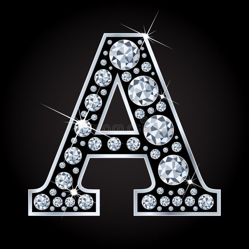 Een vectordiebrief maakte met diamanten op zwarte achtergrond worden geïsoleerd royalty-vrije illustratie