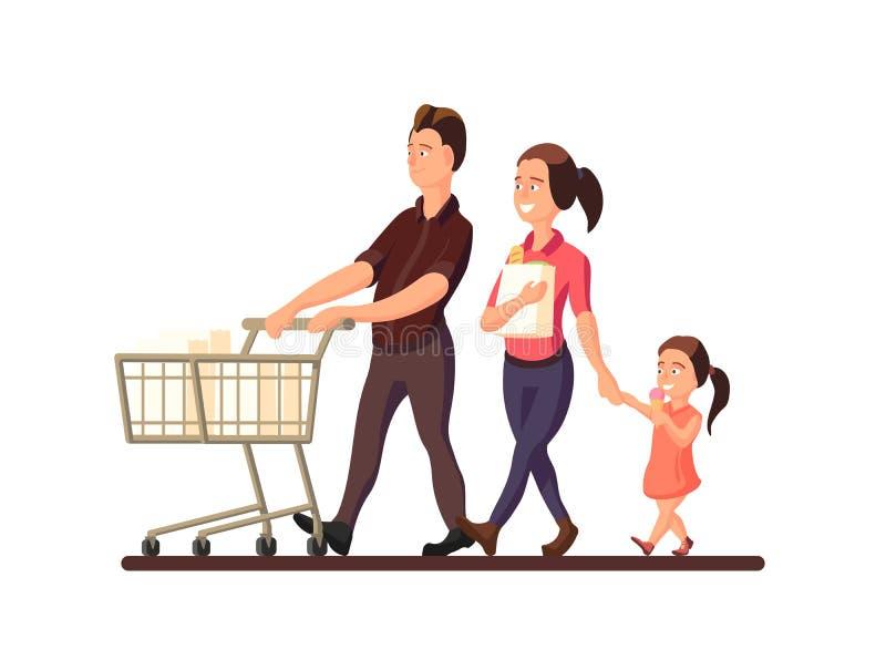 Een vectorillustratie die van familie naar de markt gaan Karakters van glimlachende leden van familie: moeder, vader en kind op w vector illustratie
