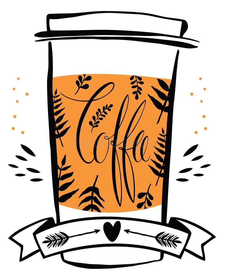 Een vectorillustratie van de koffiekop met de kalligrafie stock illustratie
