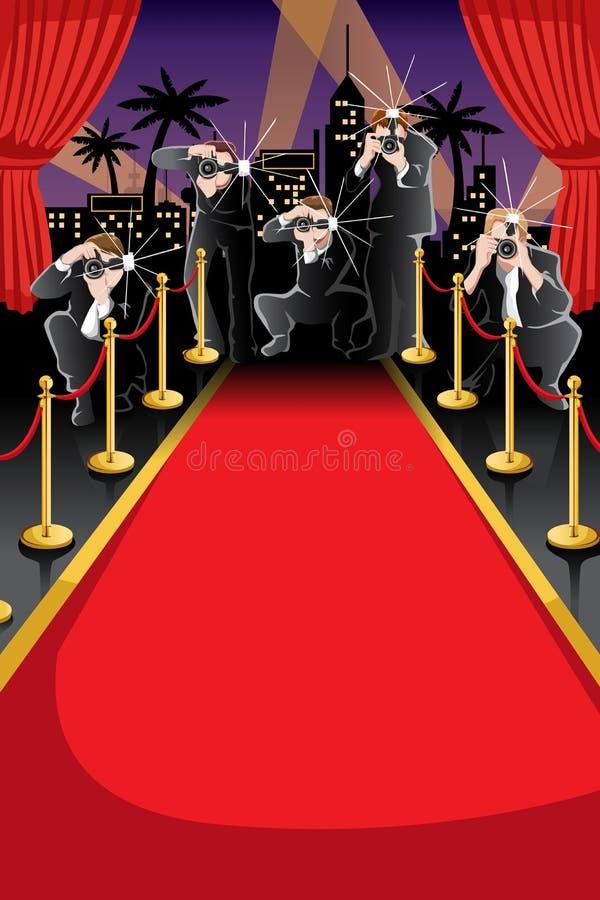 Rode tapijt en paparazziachtergrond vector illustratie
