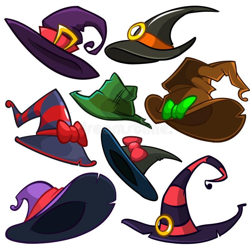 Een vectorreeks Halloween-heksenhoeden De vectordiepictogrammen van de heksenhoed op witte achtergrond worden geïsoleerd stock illustratie