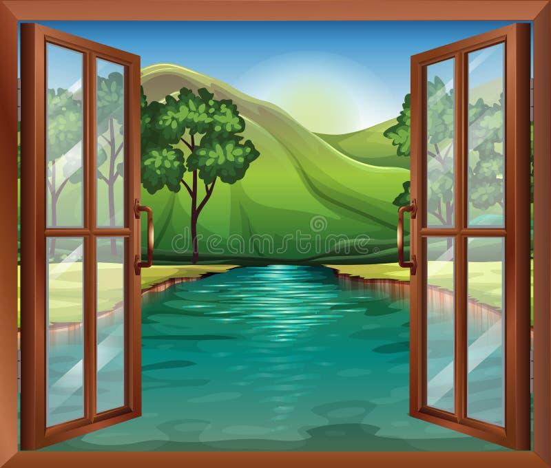 Een venster dichtbij de stromende rivier vector illustratie