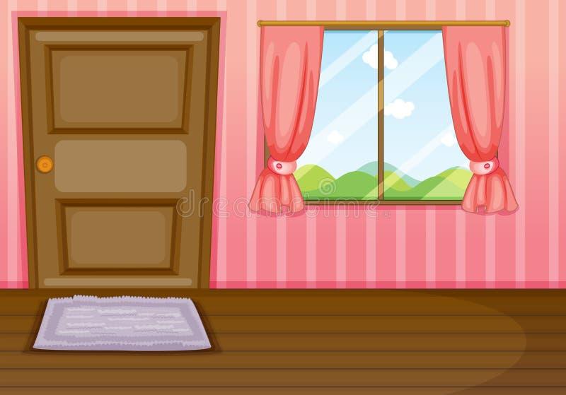 Een venster en een deur stock illustratie