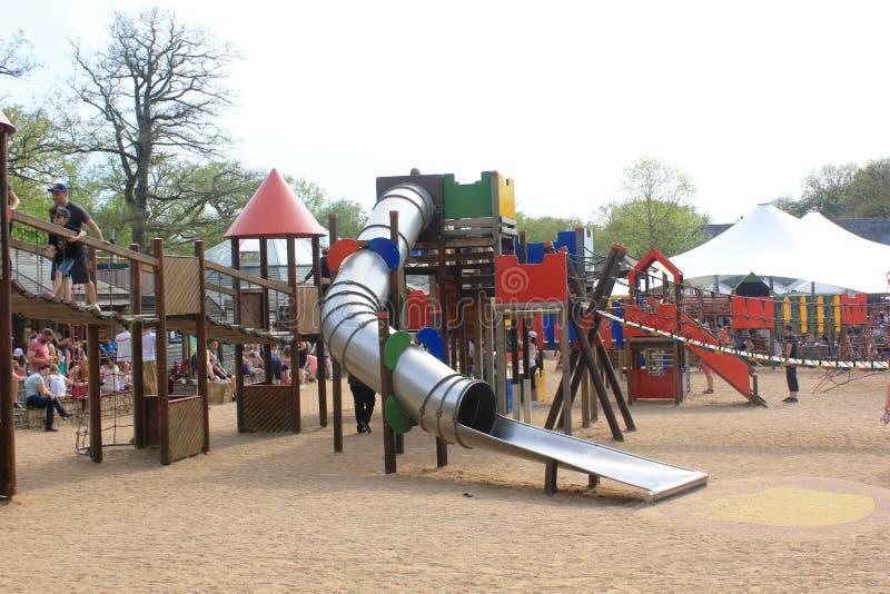 Een verbazende speelplaats voor jong geitje in Parc Merveilleux, Bettembourg royalty-vrije stock afbeelding