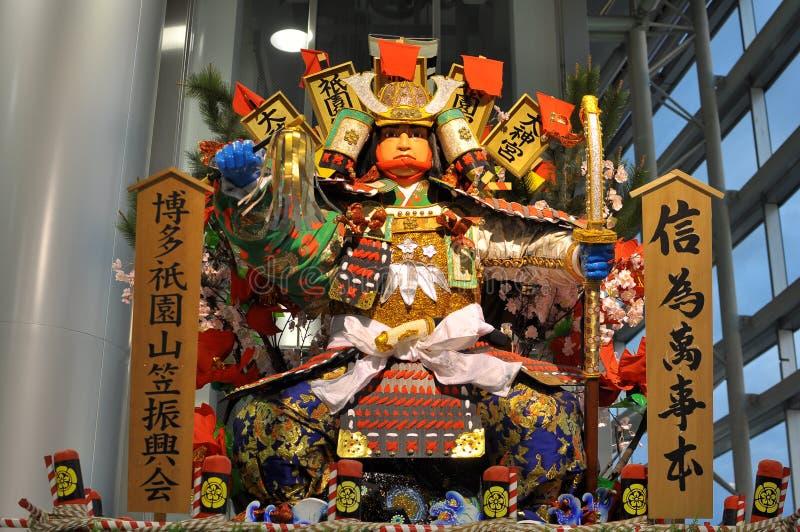 Een verfraaide vlotter in het festival van Hakata Gion Yamasaka stock afbeelding