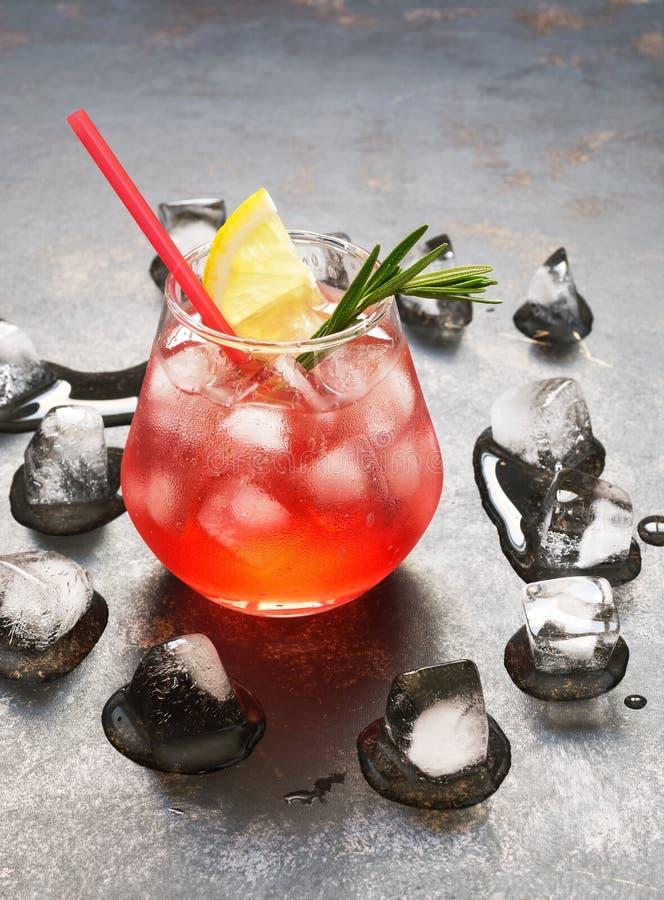 Een verfrissende rode drank met ijs, citroen en rozemarijn Aperitief met Campari stock foto