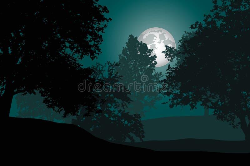 Een vergankelijk bos met bomen onder een nachthemel met volle maan - royalty-vrije illustratie