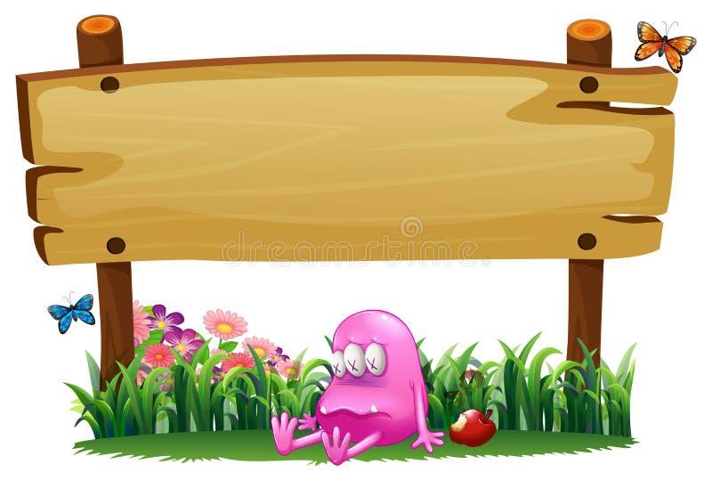 Een vergiftigd roze monster onder leeg uithangbord vector illustratie