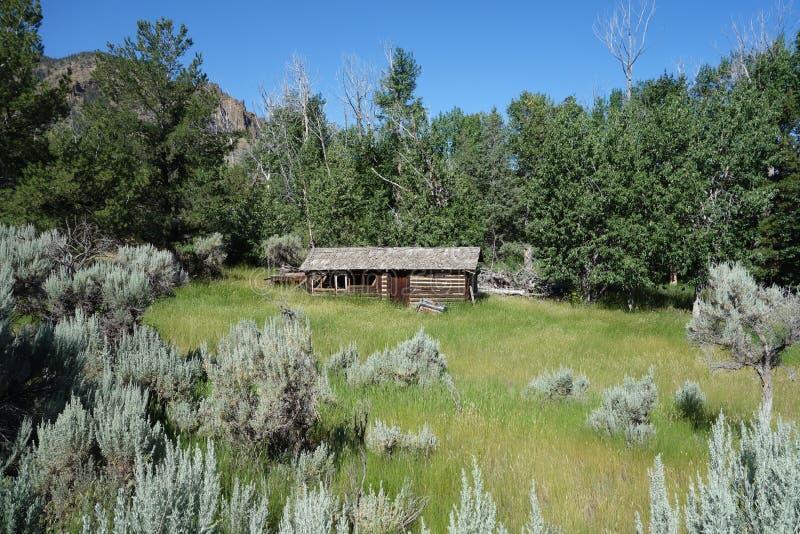 Een verlaten blokhuis in Wyoming stock foto's