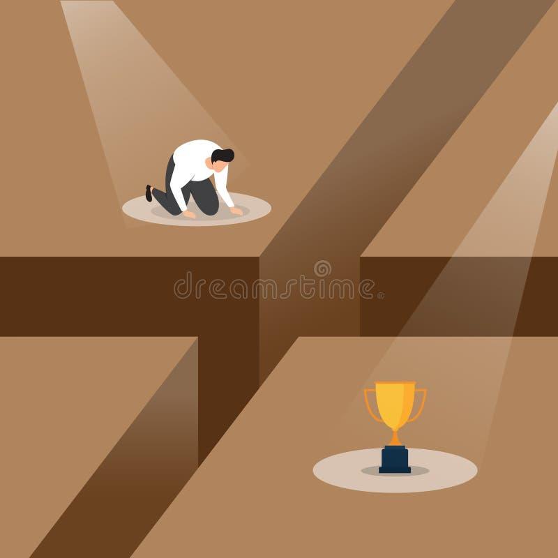 Een Verliezer stortte Gefrustreerd met Mislukking onder Schijnwerper Bedrijfsconceptenillustratie in vector illustratie
