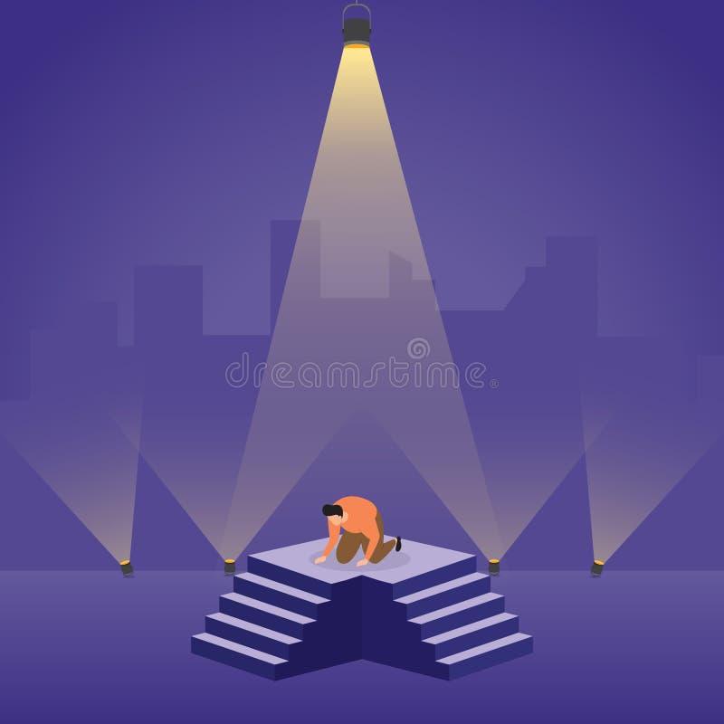 Een Verliezer stortte Gefrustreerd op Podium met Schijnwerper Bedrijfsconceptenillustratie in vector illustratie