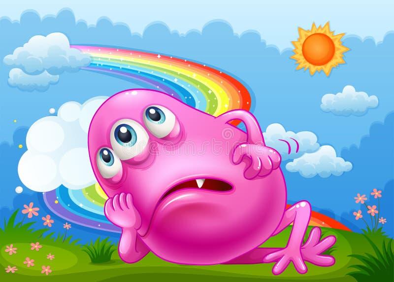 Een vermoeid monster bij heuveltop met regenboog in hemel vector illustratie