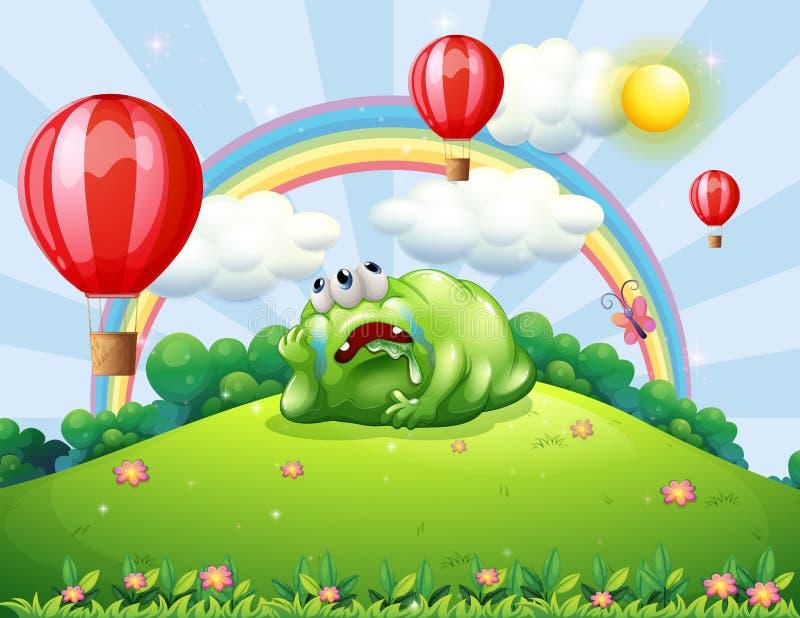 Een vermoeid monster boven de heuvel die op de hete luchtballons letten royalty-vrije illustratie
