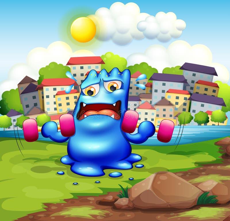 Een vermoeid monster die in de stad uitoefenen stock illustratie