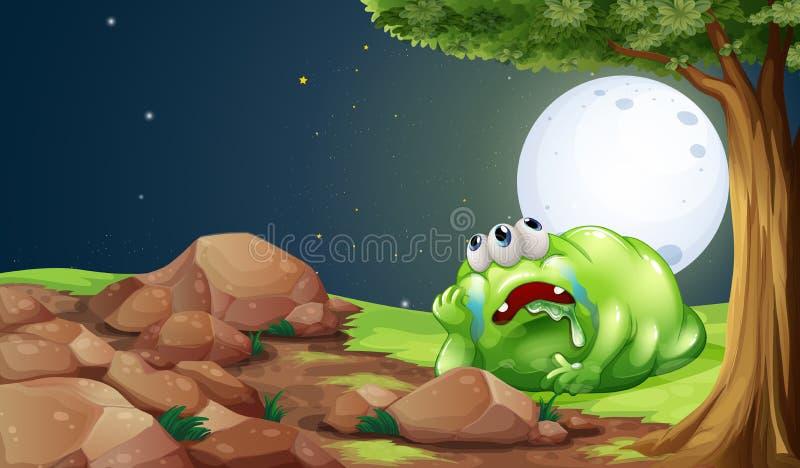 Een vermoeid monster die onder de boom in het midden van nigh rusten royalty-vrije illustratie