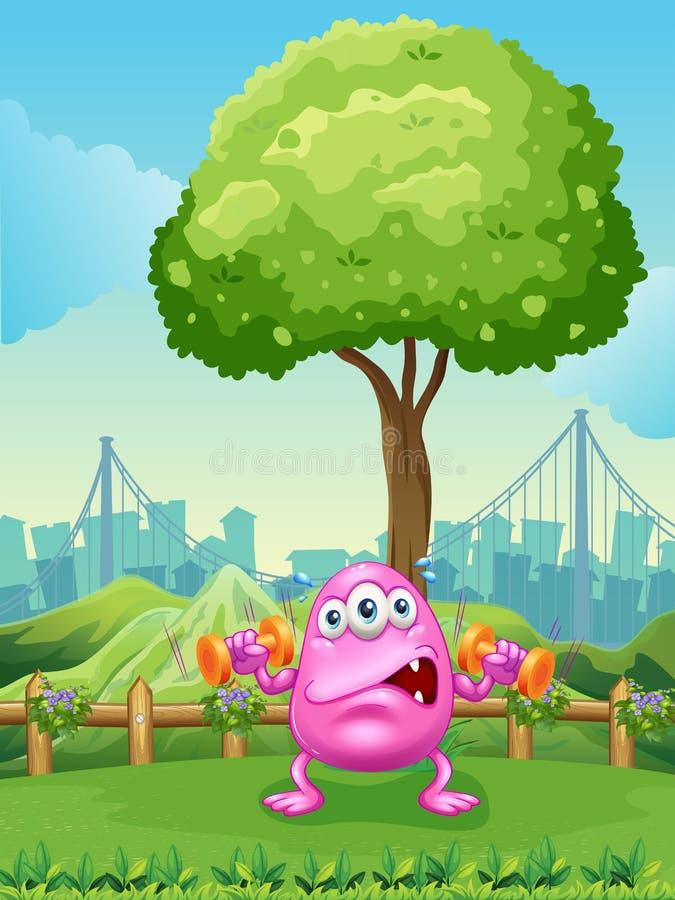 Een vermoeid monster die onder de boom uitoefenen stock illustratie