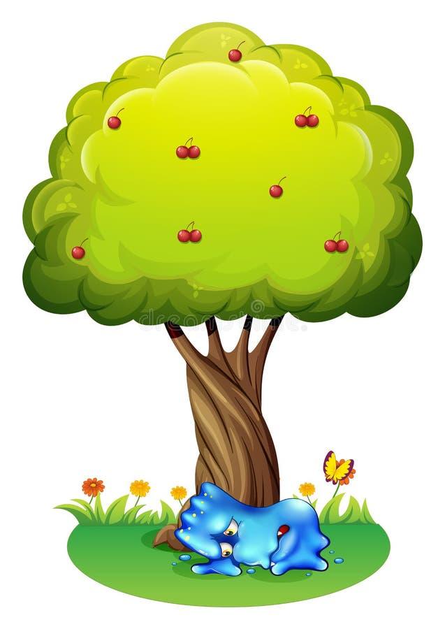 Een vermoeid monster onder de boom stock illustratie