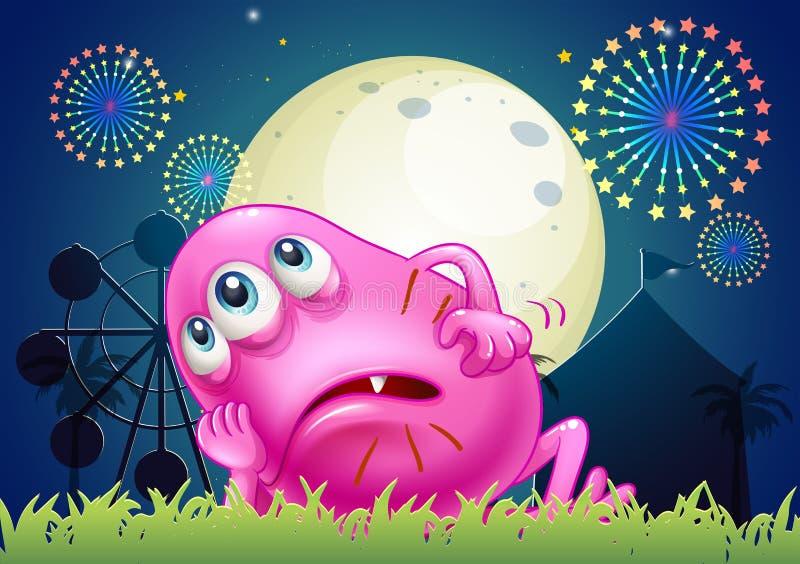 Een vermoeid vet beaniemonster in Carnaval stock illustratie