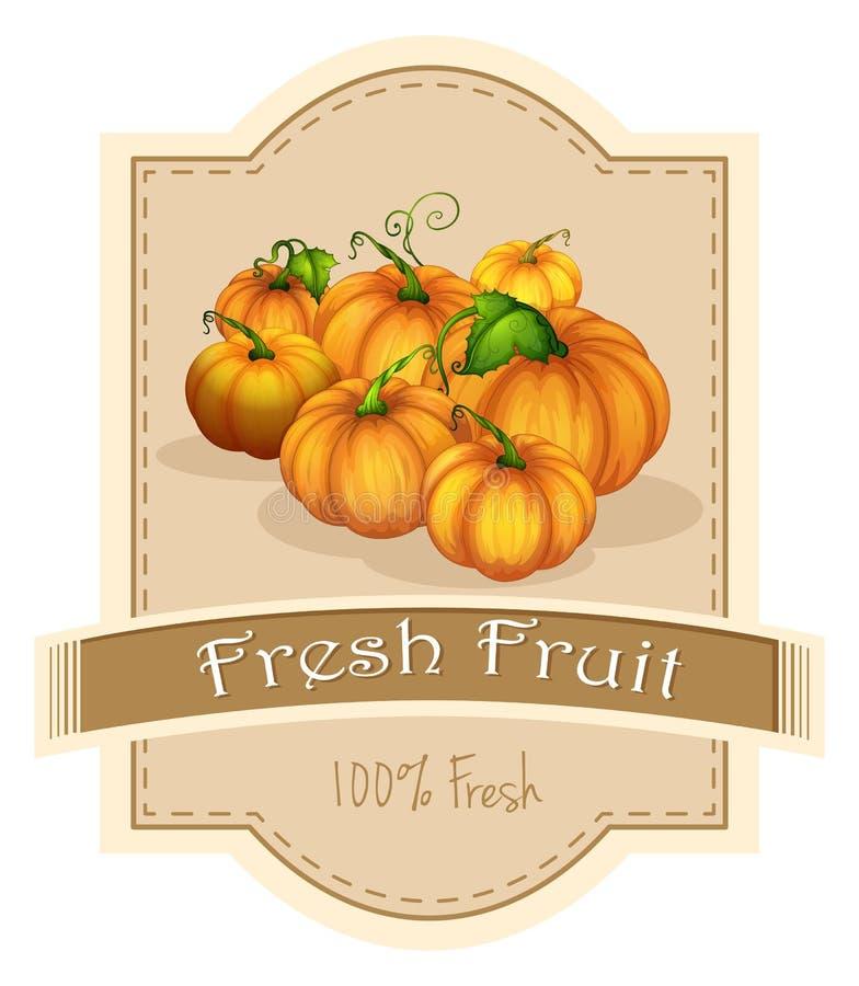 Een vers fruitetiket met een groep pompoenen royalty-vrije illustratie