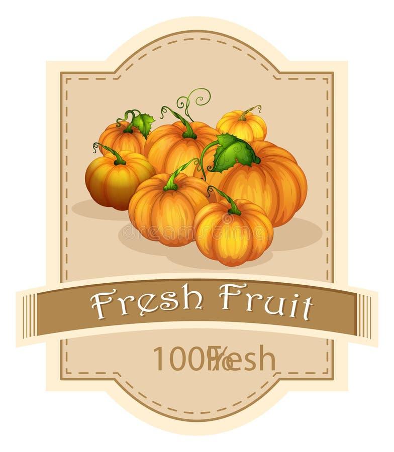 Een vers fruitetiket met pompoenen stock illustratie