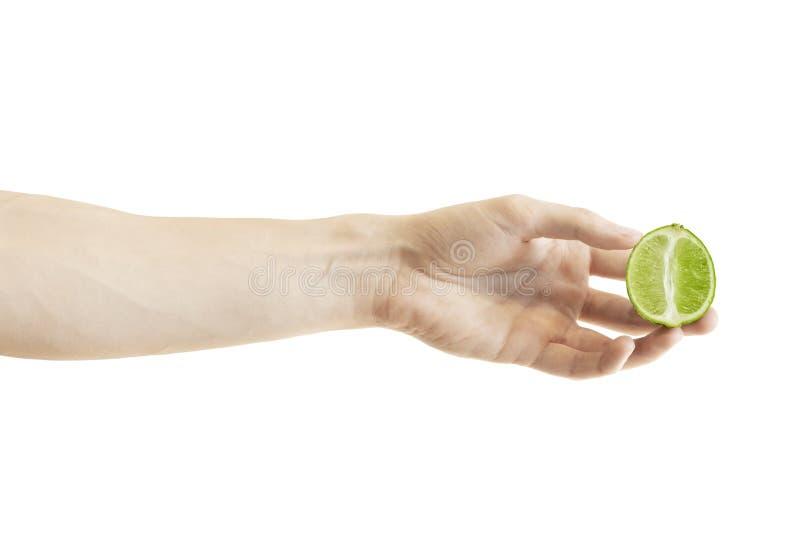 Een verscheurde halve plak van groene die kalk in de hand van mensen op witte achtergrond wordt geïsoleerd stock foto's