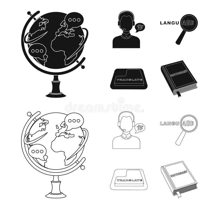 Een vertaler in hoofdtelefoons, een vergrootglas die vertaling, een knoop met een inschrijving, een boek met een referentie tonen royalty-vrije illustratie