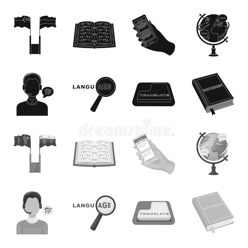 Een vertaler in hoofdtelefoons, een vergrootglas die vertaling, een knoop met een inschrijving, een boek met een referentie tonen vector illustratie