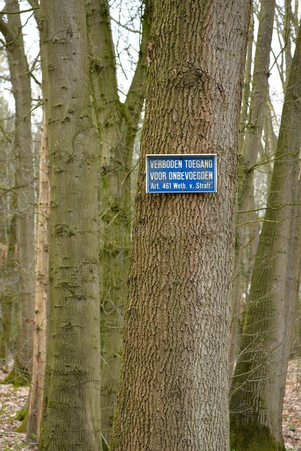 Een verticale mening van een boom met het teken dat wordt belemmerd om voor onbevoegde personen in het Nederlands over te gaan royalty-vrije stock foto