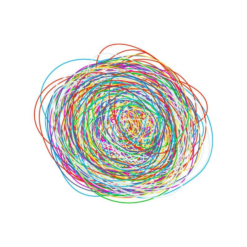 Een verwarde verwarring van gedachtengangen het patroon van chaos en knoeit voor druk Vlakke vector geïsoleerde illustratie royalty-vrije illustratie