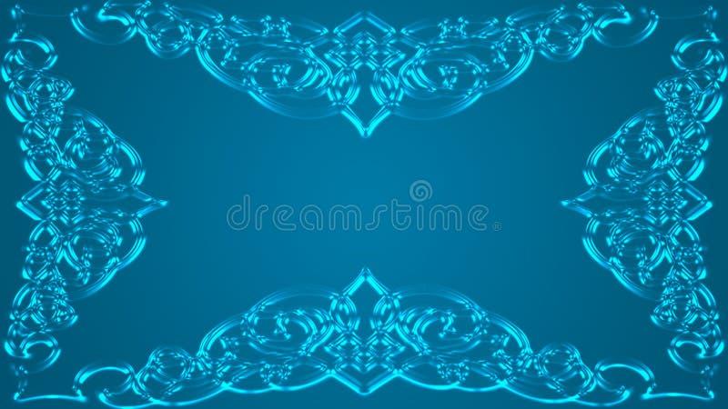 Een verzadigde groenachtig-blauwe achtergrond met kader stock illustratie