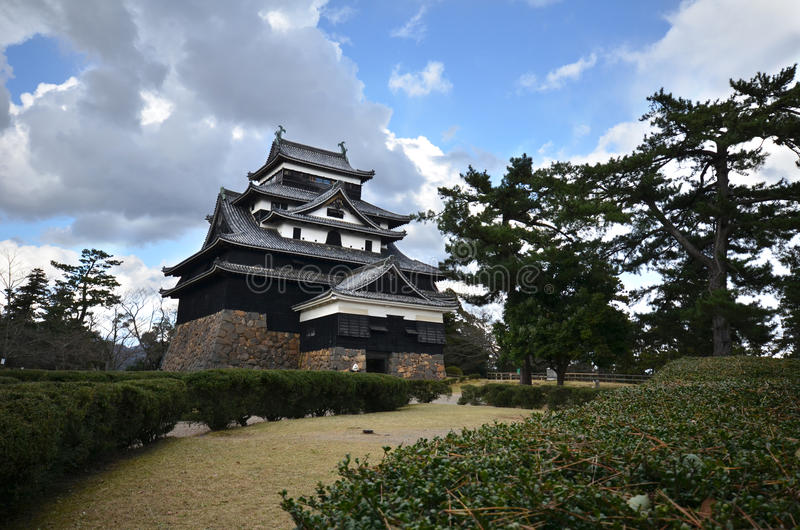 Een vew van de samoeraien feodaal kasteel van Matsue in Shimane-prefectuur royalty-vrije stock foto