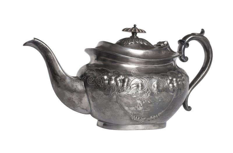 Een Victoriaanse Britannia-Metaaltheepot royalty-vrije stock foto's