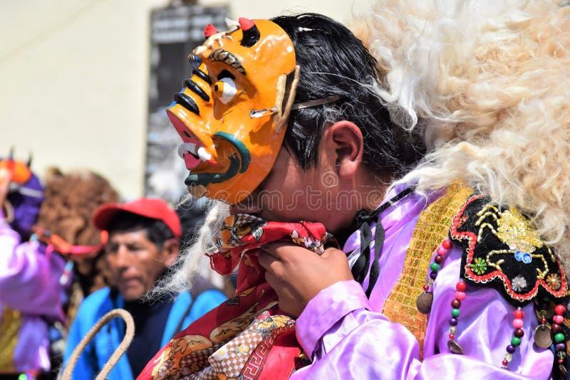 Een viering in de straten van Cuzco, Peru stock fotografie
