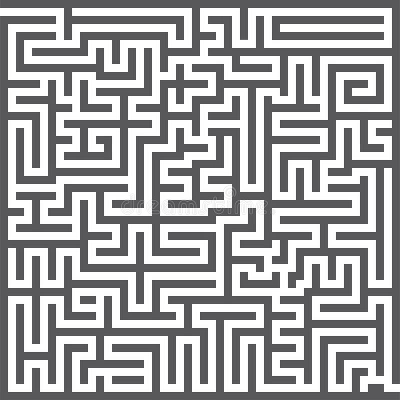 Een vierkant labyrint Labyrintspel Grijs labyrint voor Uw bedrijfsproject Vector illustratie vector illustratie