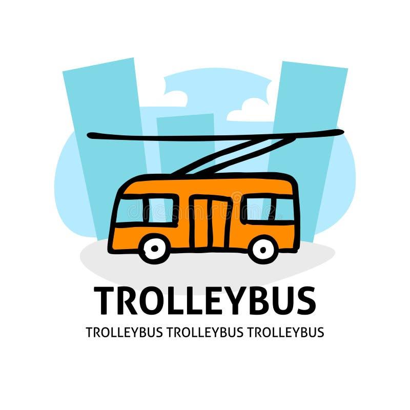 Een vierkant vectorbeeld van een trolleybus in de stad De illustratie van de overzichtskrabbel Een leuk beeldverhaalontwerp stock illustratie
