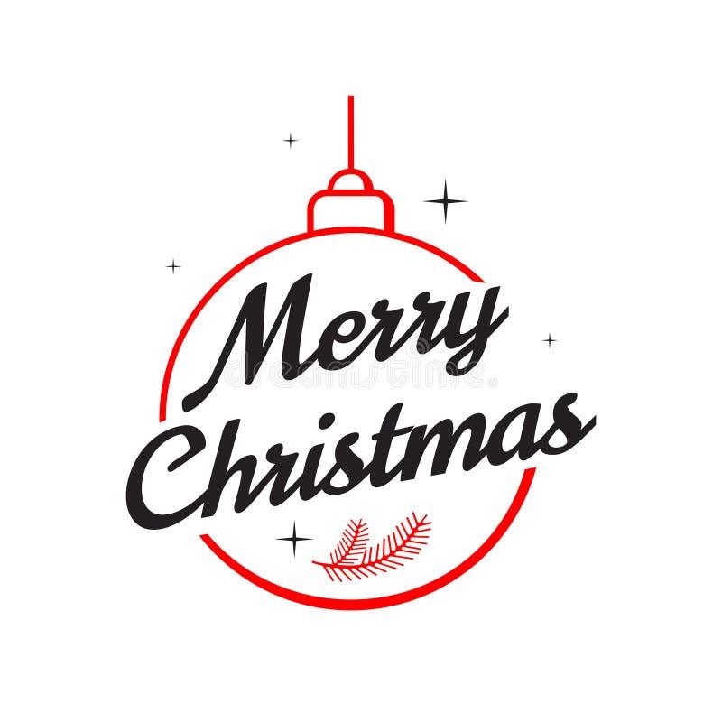 Een vierkante witte achtergrond met rode feestelijke het van letters voorzien Vrolijke Kerstmis Vectorillustratie voor groetkaart stock illustratie