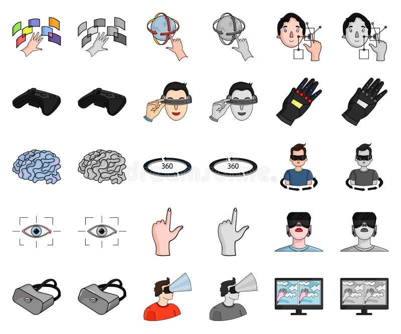 Een virtueel werkelijkheidsbeeldverhaal, monochrom pictogrammen in vastgestelde inzameling voor ontwerp Modern technologie en mat stock illustratie