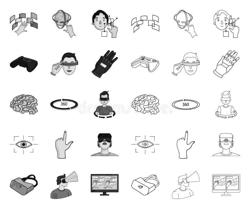 Een virtuele werkelijkheid mono, overzichtspictogrammen in vastgestelde inzameling voor ontwerp Moderne technologie en materiaal  stock illustratie