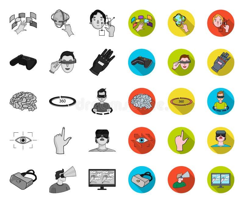 Een virtuele werkelijkheids mono, vlakke pictogrammen in vastgestelde inzameling voor ontwerp Moderne technologie en de voorraadw stock illustratie