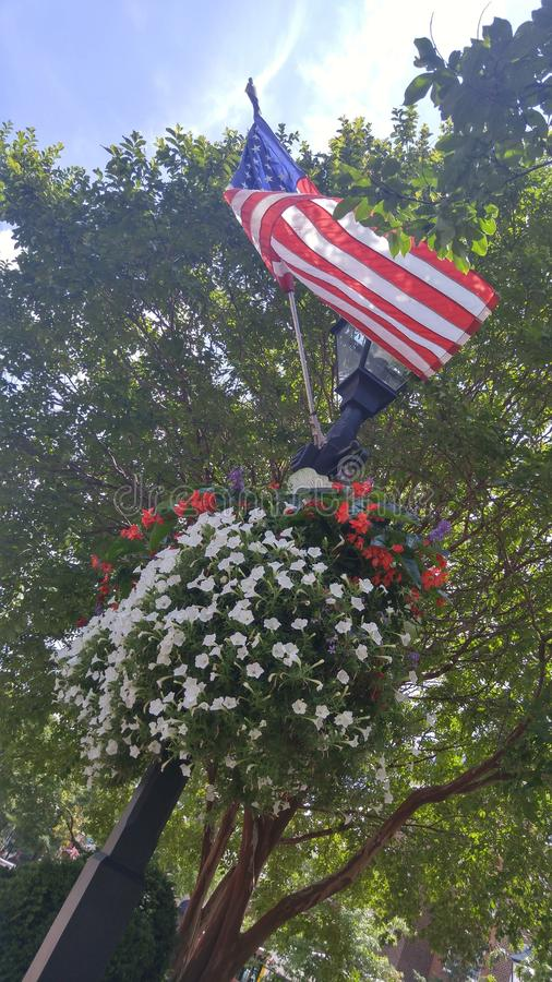 Een Vlag en Bloemen in de Winden royalty-vrije stock fotografie