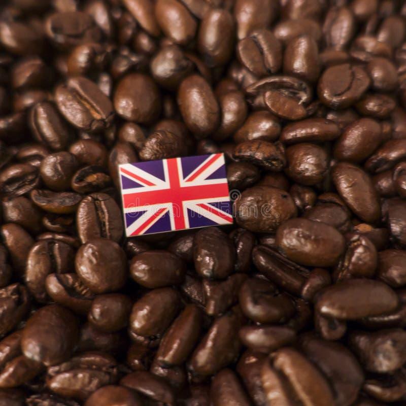 Een vlag van het Verenigd Koninkrijk over geroosterde koffiebonen die wordt geplaatst stock afbeelding
